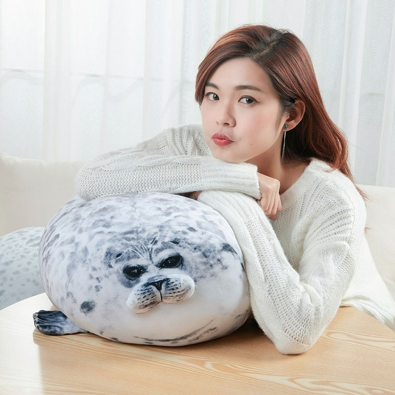 3d novelty sea lion plush toy cute stuffed doll happy angry blob seal pillow baby sleeping throw pillow children boys girls gift