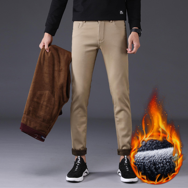 4 Color Winter Men Warm Casual Pants 2019 New Classic Style Stretch Slim Fit Business Fashion Thick Trousers Male Brand Clothes