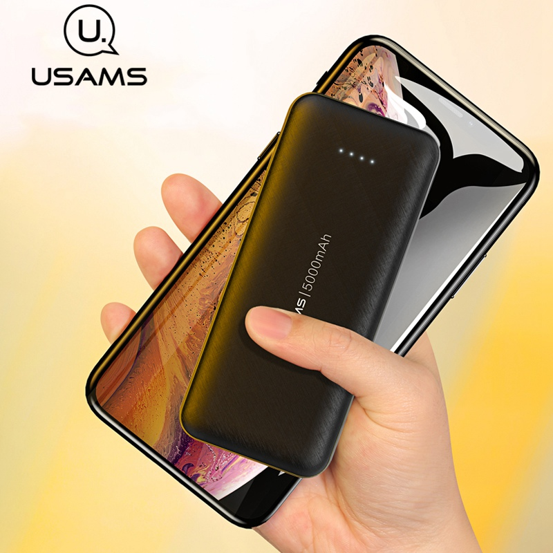 USAMS Mini Power Bank 5000mAh Portable Charging PowerBank USB PoverBank External Battery Charger For IPhone HUAWEI Xiaomi Mi 9