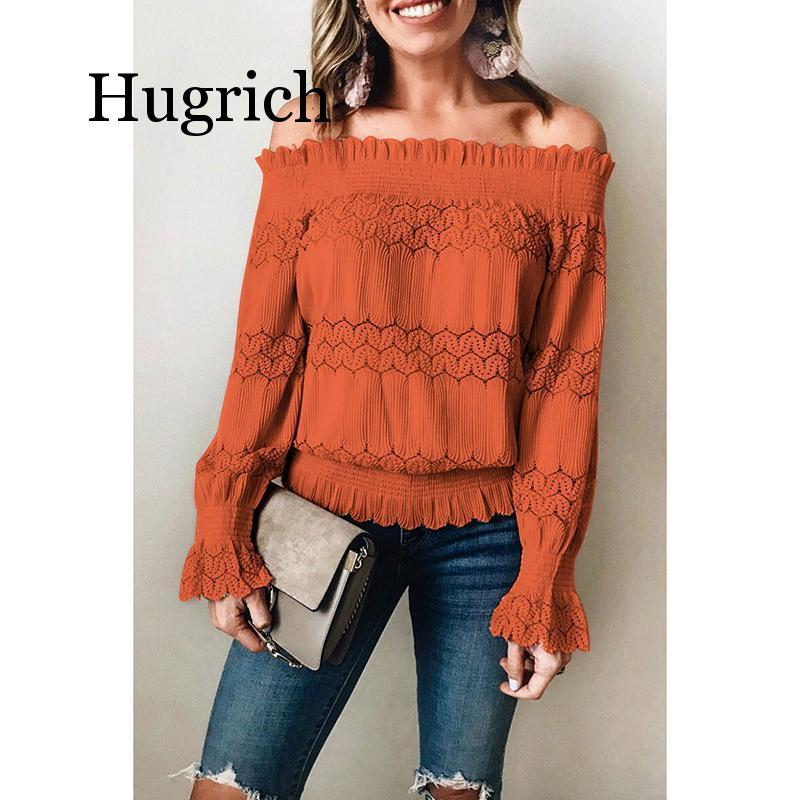 2020 Sexy Women Slash Neck Hollow Out Lace Blusas Solid Long Sleeve Slim Blouse Ladies Casual Harajuku Boho Style Shirt