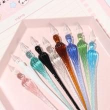1 ADET El Yapımı Cam Lampwork Kalem 3D Çiçek içinde Kristal Penholder Daldırma kaligrafi kalemi Dolum Mürekkep Dolma Kalemler