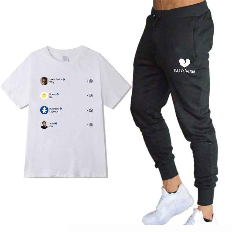 Newest Fashion XXXtentacion T-shirt Men Rip Xxxtentacion Hip Hop Rapper T-shirt Set Men/Women T Shirts Pants Two Pieces Sets