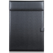 A4 PU Leather Storage Office Folder Clipboard, Letter Size Clip Hardboard, Meeting Memo Writing Desk Pad with Pen Holder