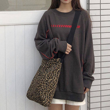 Women Canvas Tote Bag Leopard Print Shoulder Bags Fashion Large Capacity Shopping Packs Cloth