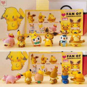 Takara Tomy Pokemon Pikachu Eevee Slowpoke Piplup Psyduck Rowlet Action Figure Pokemon Big Head Doll Elf Ball Children Toy Gifts 2