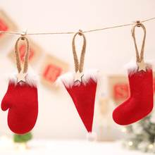 1Pc Christmas Ornaments Gift Hat Glove Boot Hang Decorations Children Toys Hanging Ornaments Party Home Pendant Decor(China)