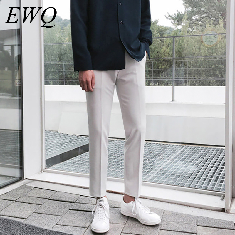 EWQ / Men's Wear Casual All-match Trousers Male Directly Self-cultivation 2020 Spring Fashion Ankle-length Suit Pants Trend 9Y86