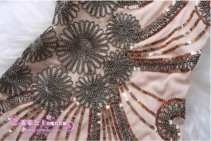 Image 3 - Cheap Sexy Top Elegent Woman Party High Quality Embroidery Summer Sequin Short Black Beige Cocktail Dress Coctail Vestido Coctel