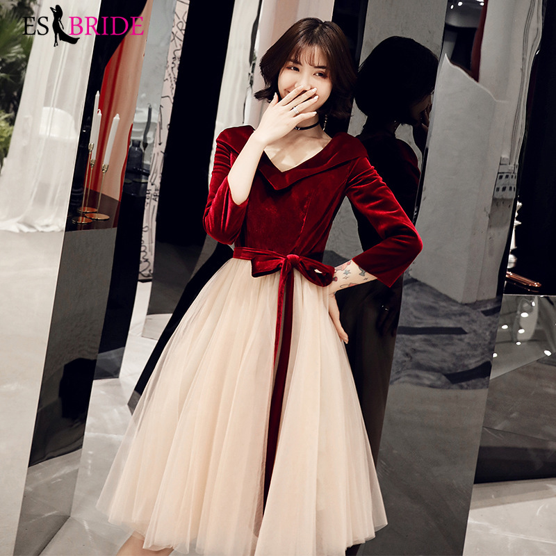 Red Muslim Evening Dress Short  A-line Elegant 3/4 Sleeves Robe De Soiree Arabic Formal Party Special Occasion Dresses ES2475-1