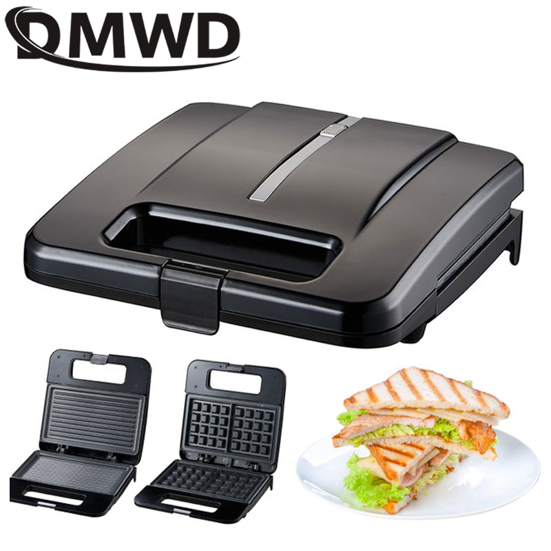 DMWD 3in1Multifunctional Electric Mini Sandwich Makers Grilling Panini Plate Waffle Toaster Breakfast Machine Barbecue Oven EU