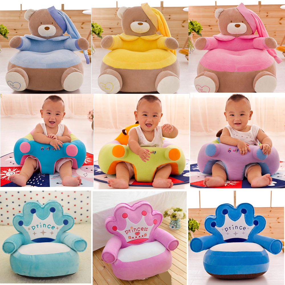 Baby Seats & Sofa Only Cover NO Filling Kids Cartoon Crown Seat Children Velvet Chair Skin Toddler For Sofa Best Gifts Appease