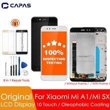 100% オリジナルxiaomi mi A1 lcdディスプレイ + フレーム 10 タッチスクリーンxiaomi mi 5X lcdスクリーンデジタイザ交換スペアパーツ