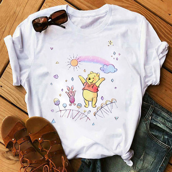 Women Tshirt Kawaii cartoon printed short-sleeved top and Winnie the Pooh fashion casual ladies clothes