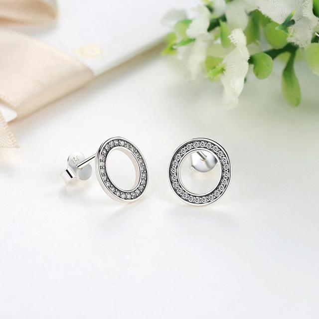 100% 925 Sterling Silver Stud Earrings Hearts Crystal Earrings For Women Girls Small Earrings  Fine Jewelry