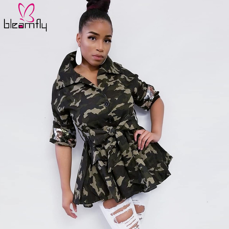 US $23.82 35% OFF|Plus Size Camouflage Sequined Lace Up Coat Autumn Jacket  Women Turn Down Collar Long Sleeve Causal Harajuku Ladies Jackets Coats on  ...