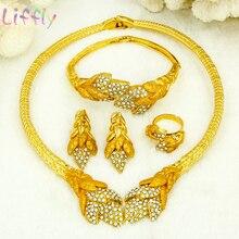 African Crystal Jewelry Fashion Sets Dubai Women Wedding Leaf Shape Earrings Bridal Necklace Bracelet Ring