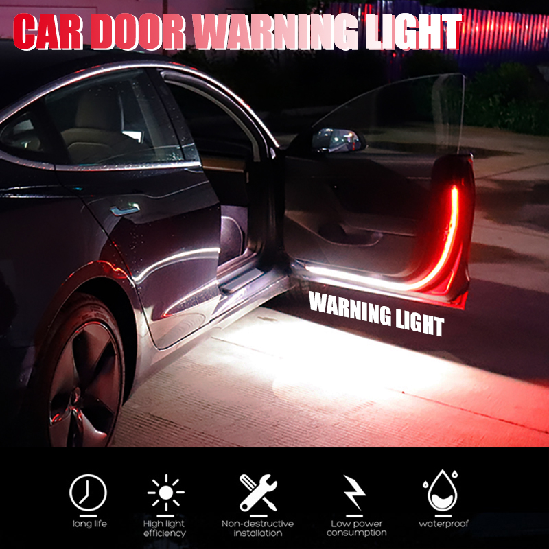 Niscarda 120CM Car Welcome Decorative Lamp Strip Door Opening Warning LED Safety Anti Rear-end Collision Universal Light