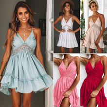 цена на GUMNHU V Neck Lace White Elegant short mini Dress Summer Hollow Out Backless Vestidos Sexy High Waisted Women Chic Dresses