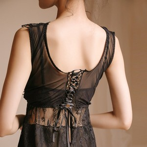 Image 5 - Yhotmeng 2019 new lace temptation sexy pajamas sweet fairy style openwork straps nightdress set four colors