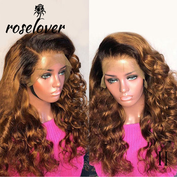 Roselover 180% Ombre Colored 13*6 Lace Front Wigs Baby Hair Brazilian Remy Loose Wave Women 1b30 Human Hair Wig Bleached Knots