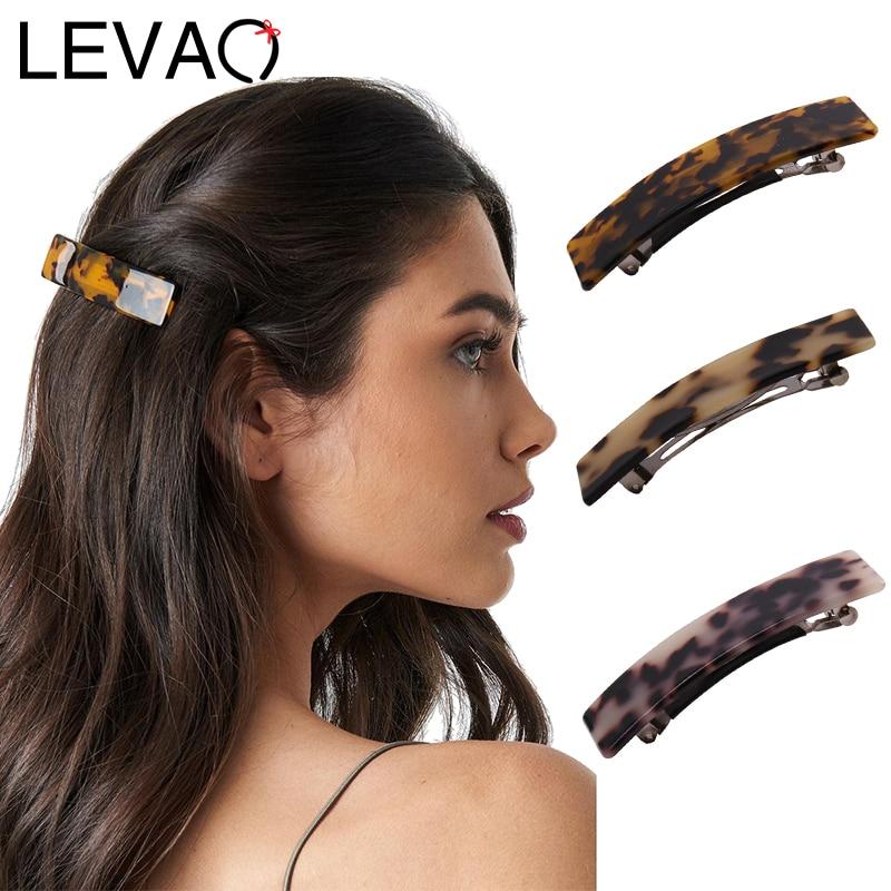 LEVAO Women Resin Leopard Print Horsetail Hair Clips Headwear Hairpins Spring Elegant Headdress Girls Holder Hair Accessories