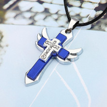 Pendant Necklace Cross-Angel-Wing Charm Collier Black Chain Gift for Male Bling/fashion
