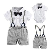 Chłopięce letnie ubrania dla chłopca odzież bawełniana elegancki garnitur z krótkim rękawem body spodnie dla niemowląt spodenki dla chłopca stroje zestaw tanie tanio E BAINEL COTTON Moda O-neck Zestawy Pojedyncze piersi REGULAR Pasuje prawda na wymiar weź swój normalny rozmiar Czesankowej