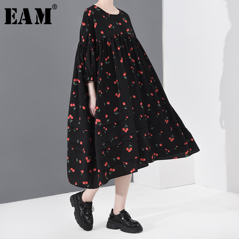 [EAM] Women Black Pattern Printed Big Size Long Dress New Round Neck Long Sleeve Loose Fit Fashion Spring Summer 2020 1T46001