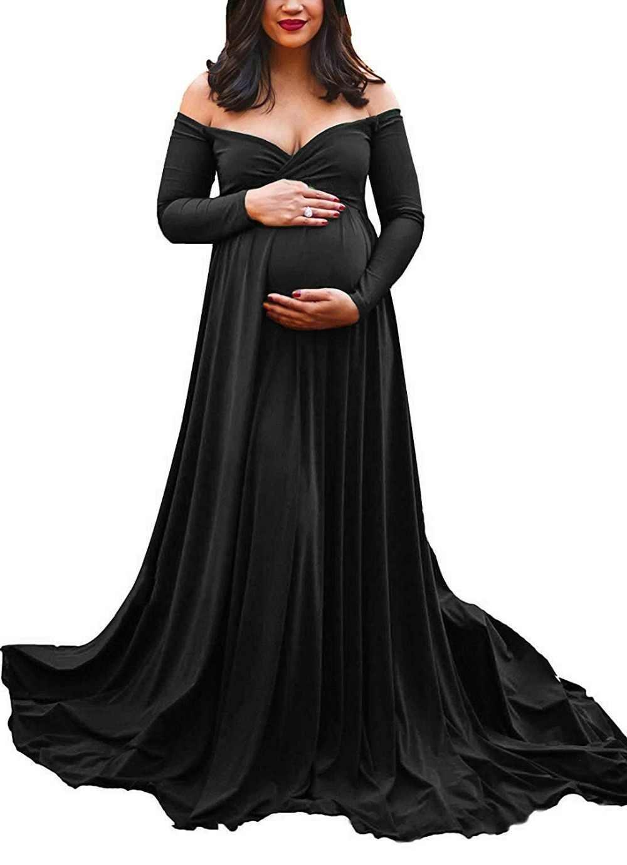 Sukienka ciążowa długi tren na sesja zdjęciowa fotografia ciążowa rekwizyty Maxi sukienki dla kobiet w ciąży kobiety ubrania sukienka ciążowa