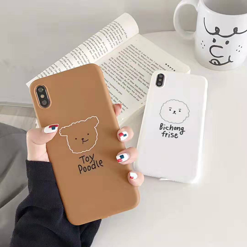 Nette Cartoon hund weiß telefon fall Für iphone6 6s 7 8plus <font><b>x</b></font> xr <font><b>xs</b></font> <font><b>max</b></font> fall Matte weiche silikon backcover Coque image