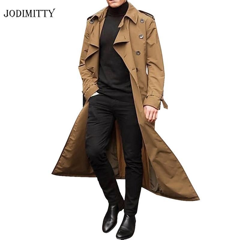 Jodimitty 2020 Trench Coat Mens Overcoat Casual Slim Fit Windbreak Plus Size Solid Long Coat Men Fashion Spring Jacket  Homme