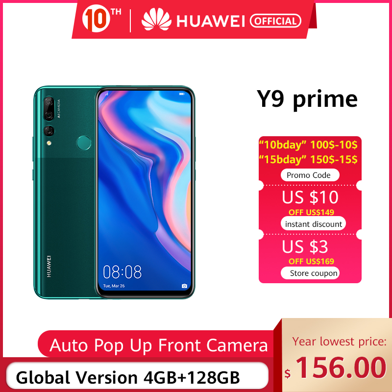 IN STOCK Huawei Y9 Prime 2019 Smartphone AI Triple Rear Cameras Global Version Cellphone 4G 128G Auto Pop-Up Front Camera 6.59""