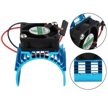 цена на Blue RC Parts Electric Car Brushless Motor Heatsink Cover + Cooling Fan For 1:10 HSP RC Car 540 550 3650 Size Motor Heat Sink