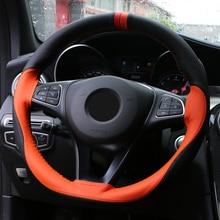 Anti Slip Zachte Kunstleer Auto Stuurhoes 38Cm Stuurwiel Met Naalden En Draad Auto interieur Accessoires