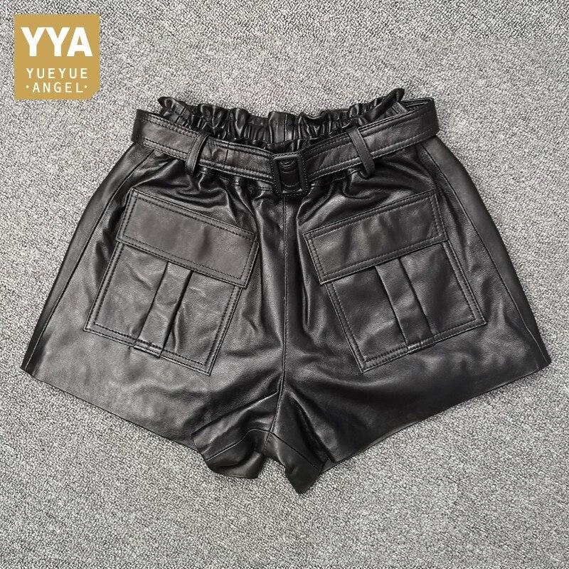 High Waist Loose Big Pockets Womens Casual Sheepskin Shorts Korean Fashion Sashes Genuine Leather Wide Leg Shorts Plus Size 3XL
