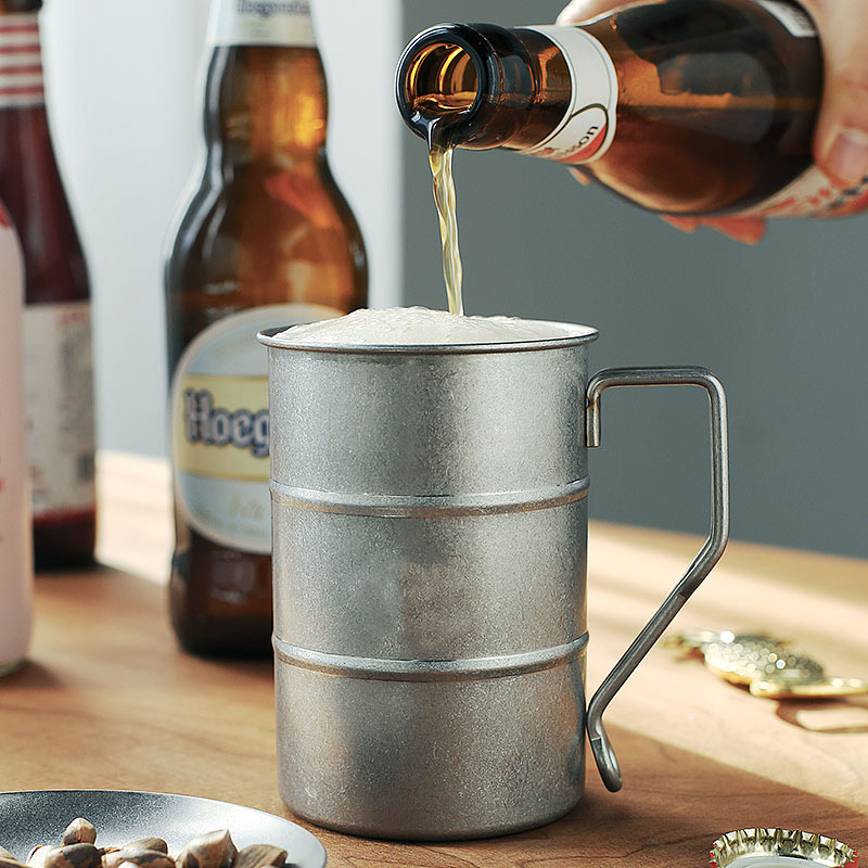 Creative retro beer glass Japanese style belt handle simple 400ML water cup 304 stainless steel pendulum creative wine glass