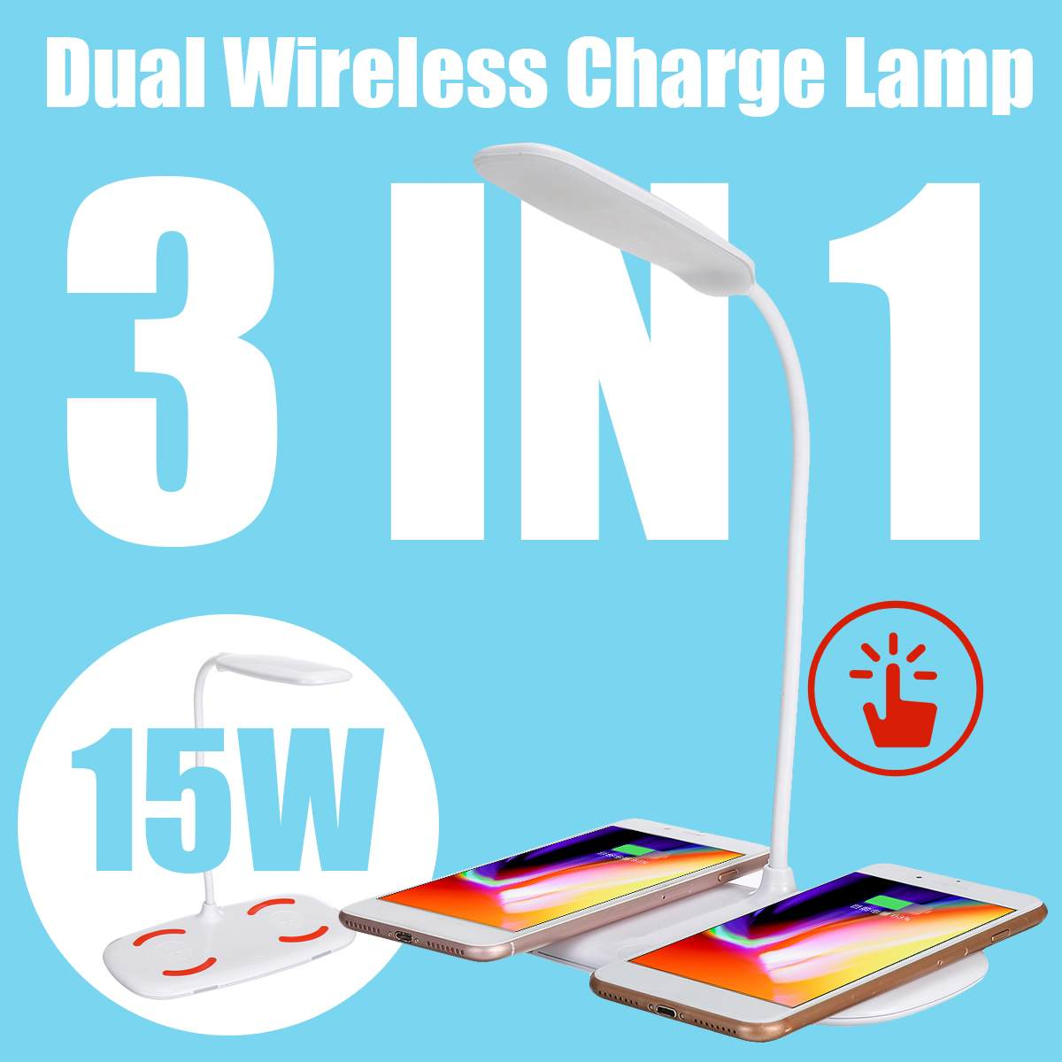 3 In 1 15W LED Desk Lamp Multi-Function Table Lamp Adjustment Home Lighting Fast Charging Wireless Charger 10W Power Qi Wireless