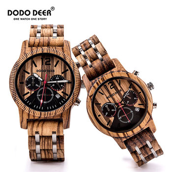 часы мужские DODO DEER Mens Womens Wooden Watches Male Stylish Cool Calendar Chronograph Business Military Couple Wristwatches