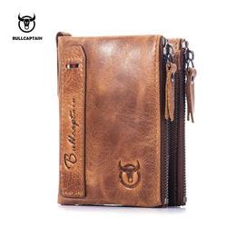 BULLCAPTAIN Vintage BIFOLD brand leather MEN wallets cowhide zipper SHORT money wallet hasp card holder small coin purse  BU004