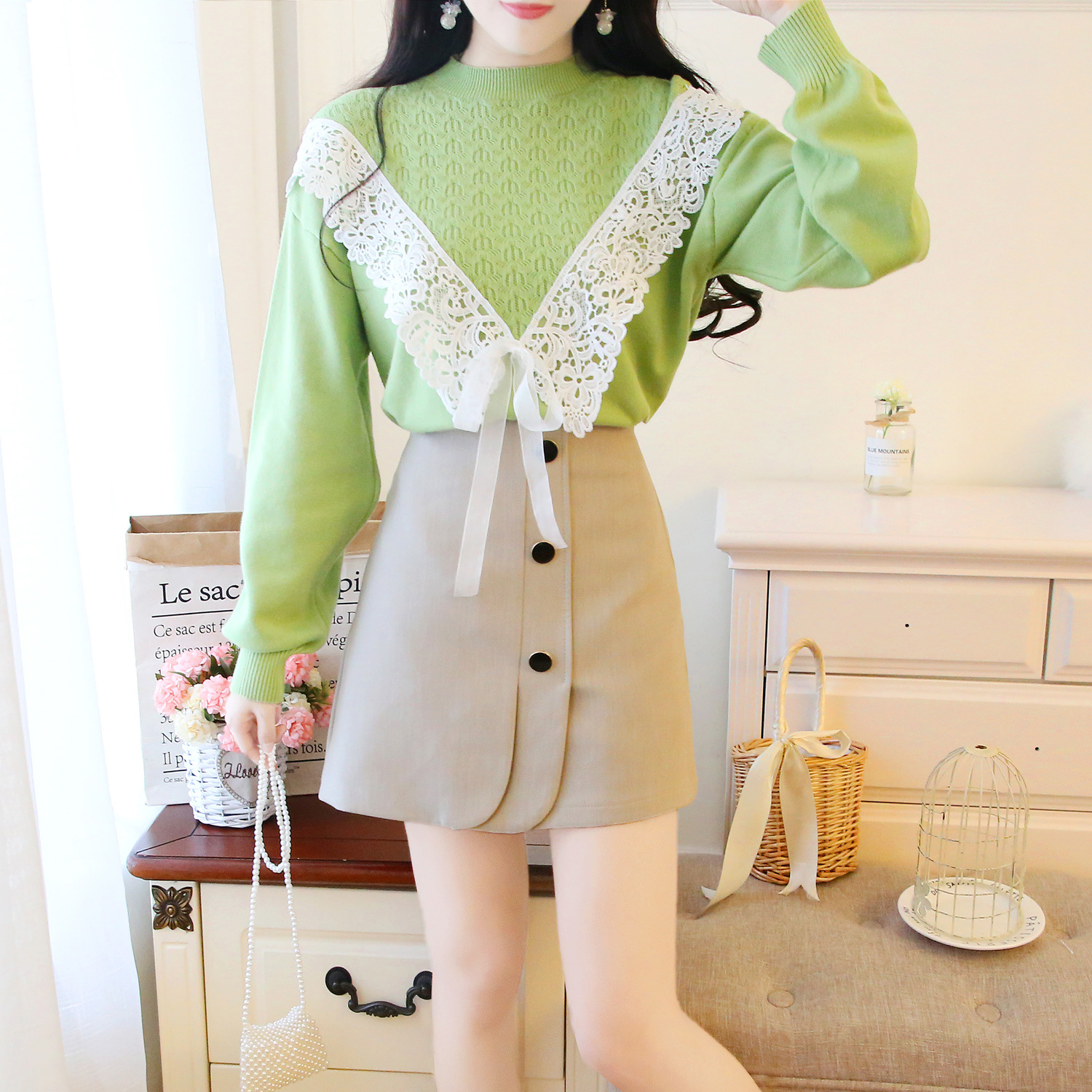 Hipster Loose-Fit Pullover Sweater + Slimming Skirt A- Line Skirt Set