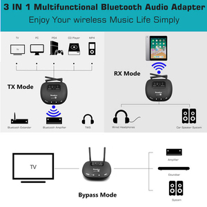 Image 3 - 3 In 1 Bluetooth 5.0 Transmitter Receiver Long Range 3.5mm Wireless Audio Adapter for TV Headphone aptX LL/HD Low Latency RCA