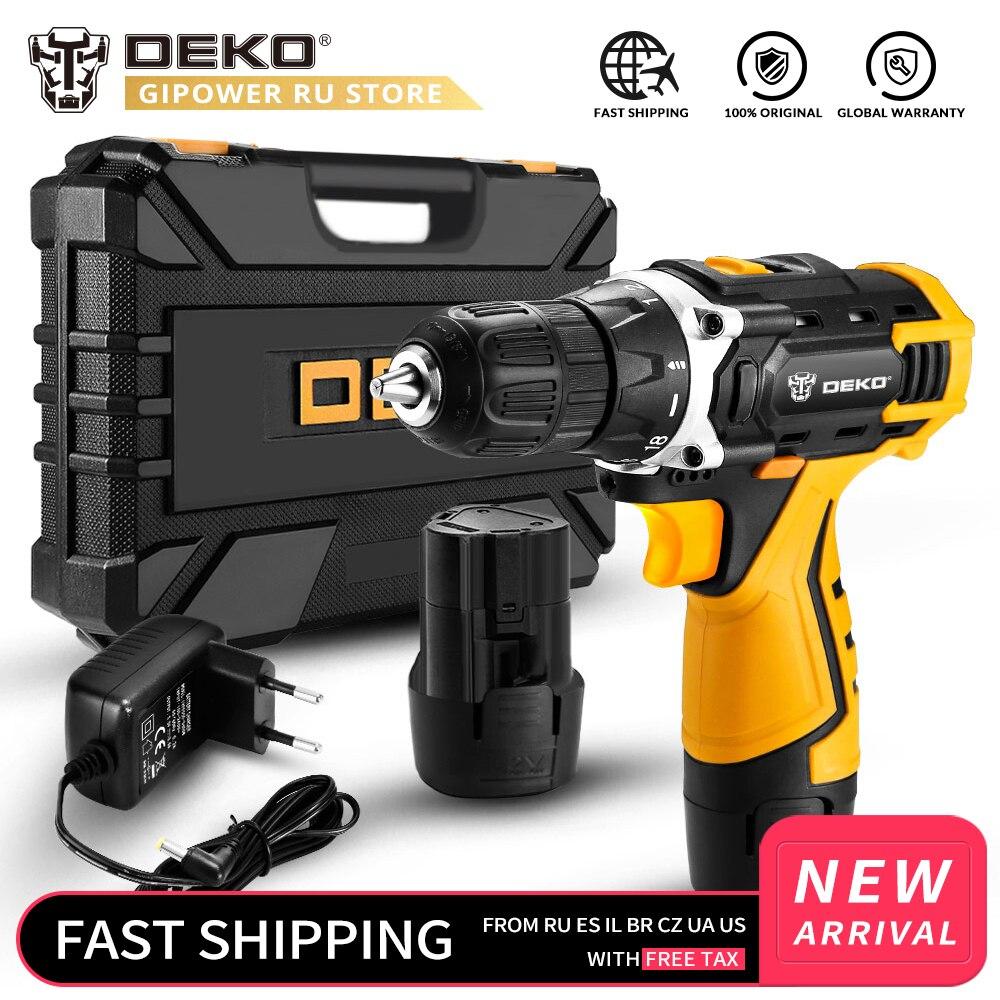 DEKO Novo Banger 12V Broca Sem Corda com Bateria De Lítio LEVOU Luz Mini Motorista De Poder DC Poder Chave De Fenda Elétrica Sem Fio ferramenta