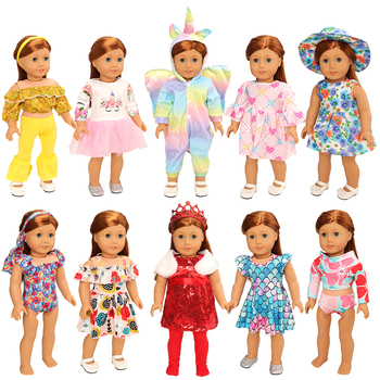 New Arrive Fashion Handmade Cheap 10 Items/Lot 18 inch doll Accessories 43 cm Kids Toys Clothes Dress For Dolls Gfit