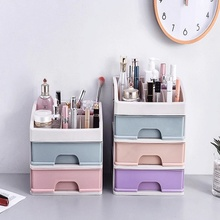 Plastic Makeup Organizer Cosmetic Drawer Storage Box Container Nail Casket Brush Lipstick Holder Desktop Sundry Storage Case plastic triple layer organizer container desktop diverse plastic drawer cosmetics makeup makeup storage box container