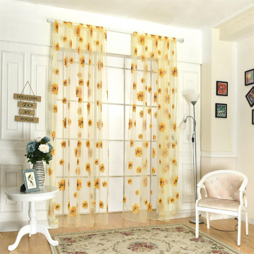 1 Piece Flower Floral Sheer Voile Door Window Curtain Drape Panel Scarf Room Divider for Living Room Home Hotel Cafe Decor