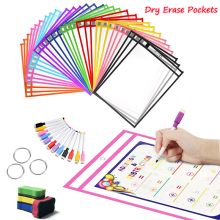 Reusable PP File Dry Erase Pockets With Pen Transparent Write And Wipe Drawing Whiteboard Markers Used for Teaching Supplies