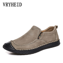 VRYHEID New Men Casual Shoes High Quality Genuine Leather Men Shoes Fashion Loafers Comfortable Flats Men #8217 s Driving Big Size 48 cheap Pigskin Rubber 40055 Slip-On Fits true to size take your normal size Solid Adult Breathable Fabric Spring Autumn Handmade