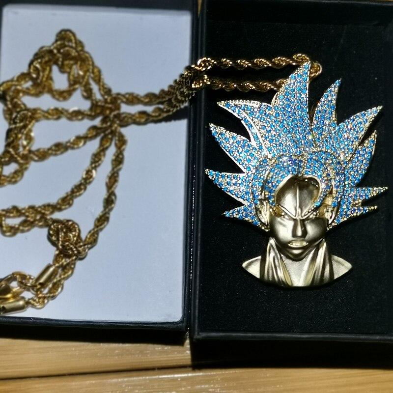 Hip Hop Bling Ice Out bleu AAA CZ Zircon Dragon Ball personnages de bande dessinée souper Saiyan GOKU pendentif collier hommes rappeur bijoux
