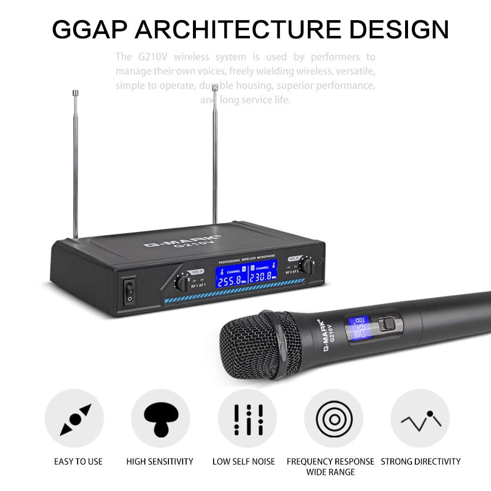 G-MARK G210V Беспроводной микрофон 2 Каналы VHF профессиональный ручной микрофон для вечерние караоке церковь показать совещание