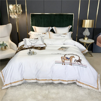 New Satin Silk Cotton knight Horse Embroidery Bedding Set Double Duvet Cover Set Bed Linen Fitted Sheet Pillowcases Home Textile